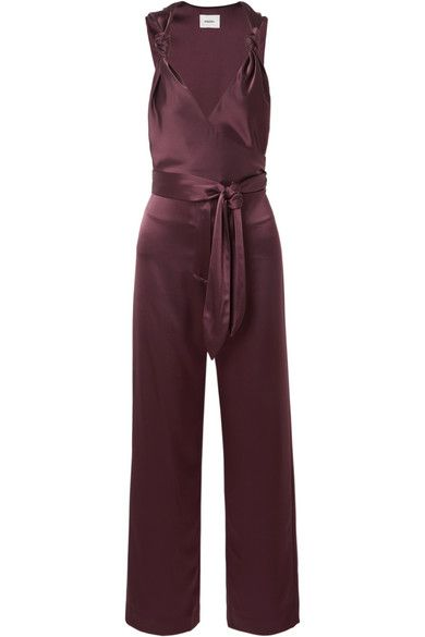 Nanushka Knotted Wrap-Effect Satin Jumpsuit