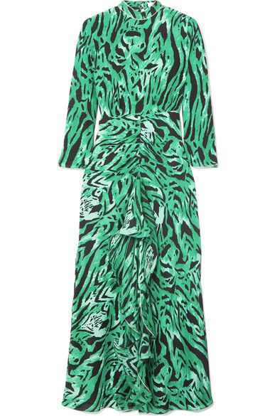 RIXO Lucy Open-Back Ruffled Animal-Print Silk Maxi Dress