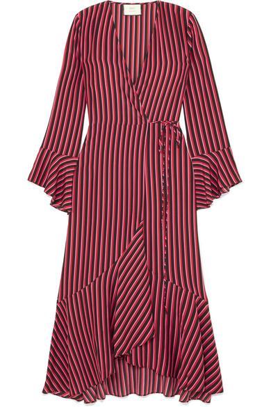 RIXO + Laura Jackson Luna Striped Silk-Crepe Wrap Dress