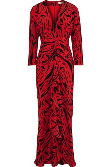 RIXO Adriana Animal-Print Silk Maxi Dress