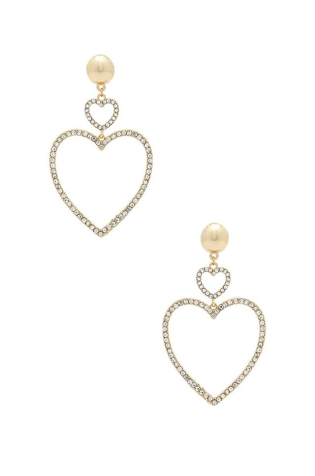 Ettika Two Hearts Drop Earrings