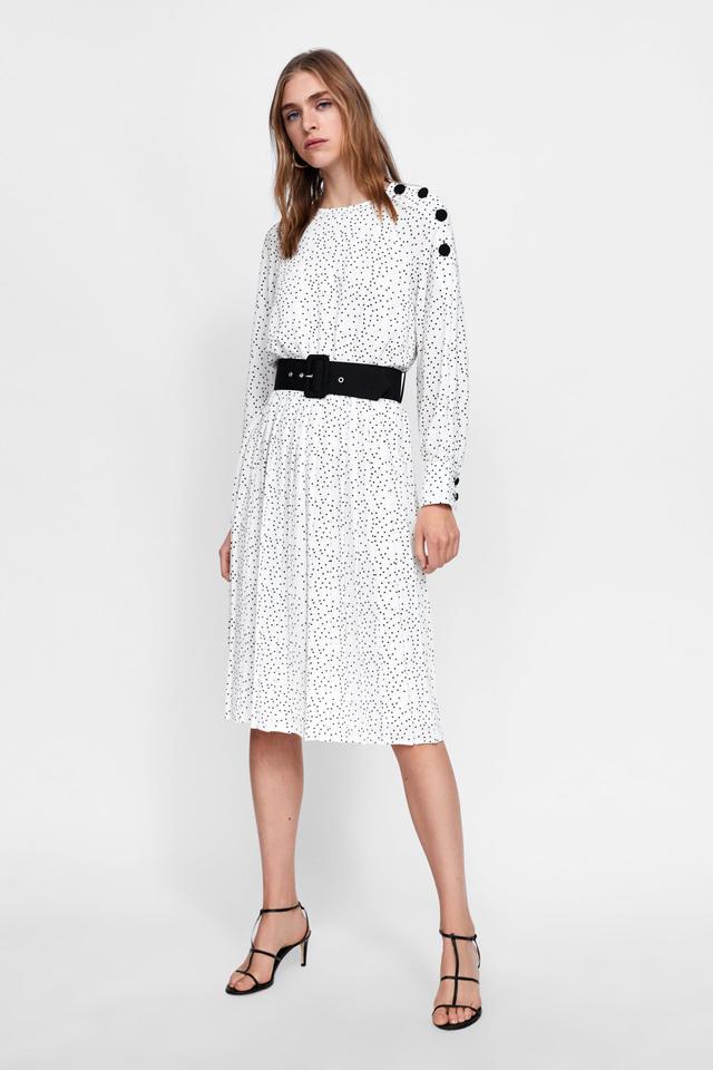 Zara Polka Dot Dress With Buttons