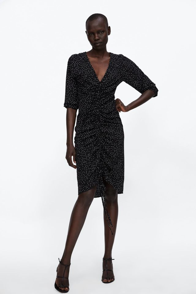 Zara Polka Dot Draped Dress