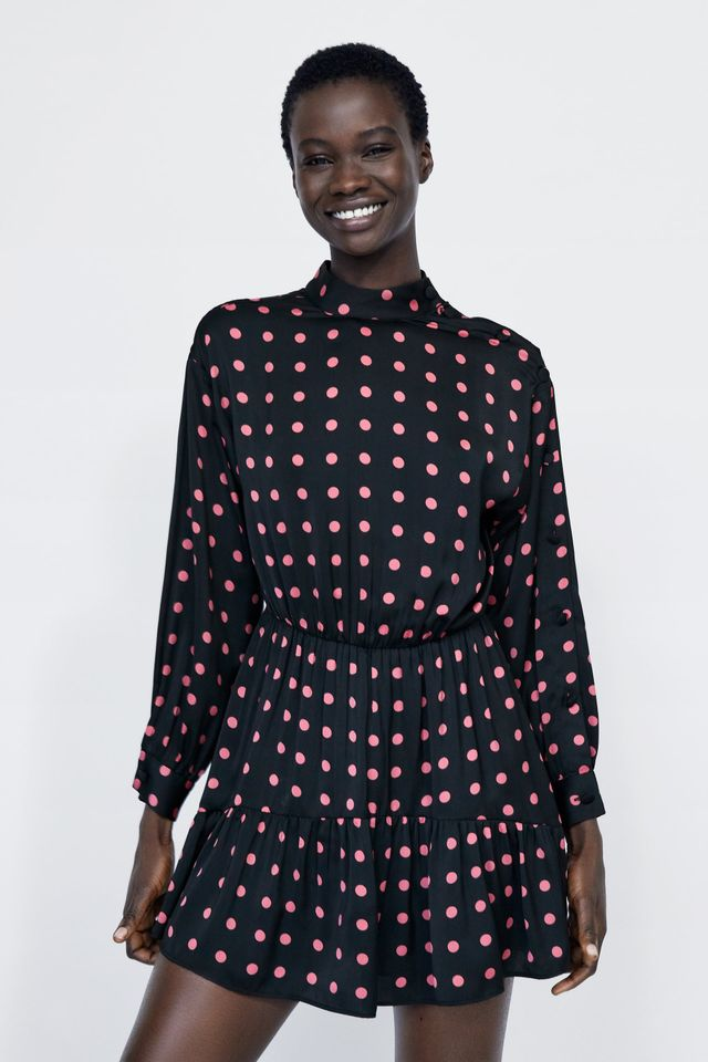 Zara Polka Dot Dress With Ruffle