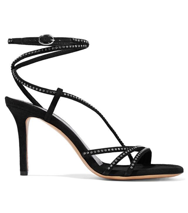 Isabel Marant Ampsee Crystal-Embellished Suede Sandals