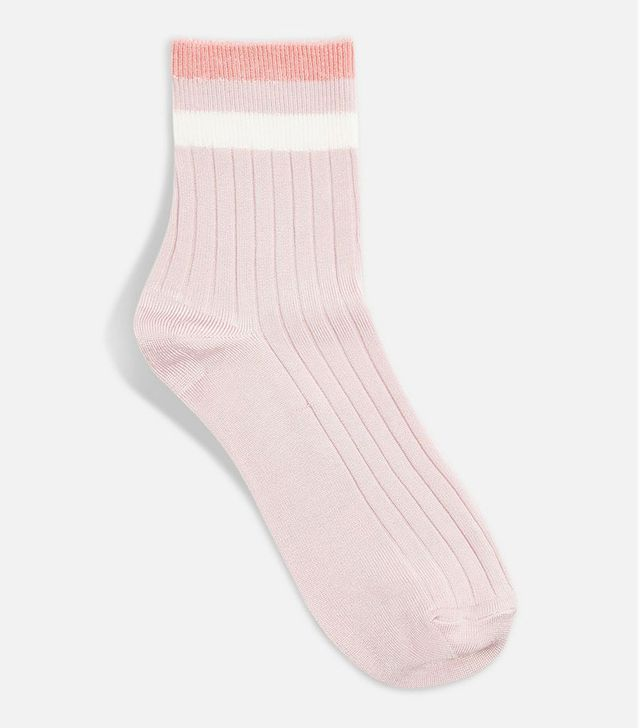 Topshop Slinky Ribbed 3 Stripe Socks