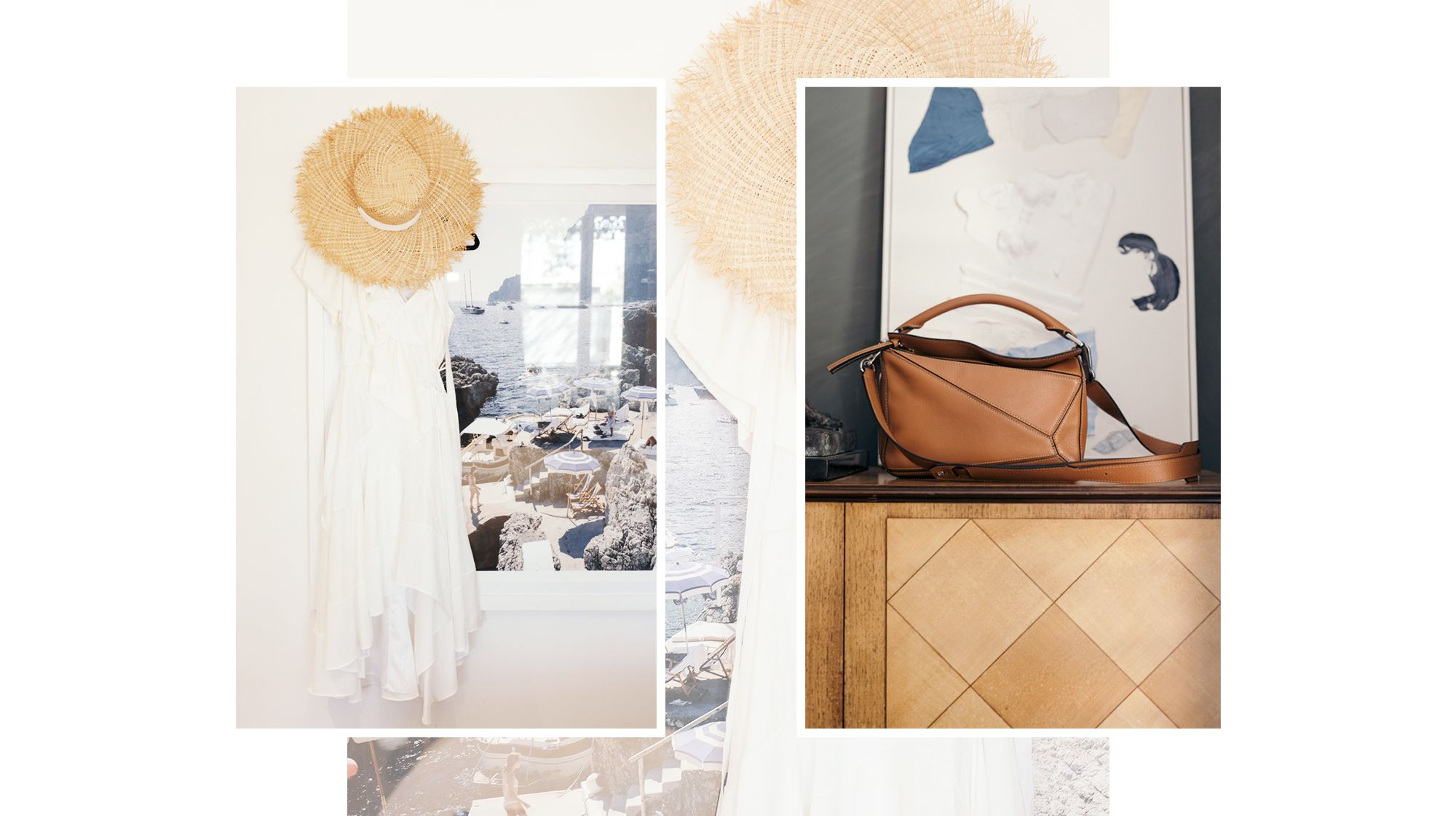 <h5><em>From left: Albus Lumen x Nerida Winter hat, Loewe dress, Loewe bag</em></h5>
