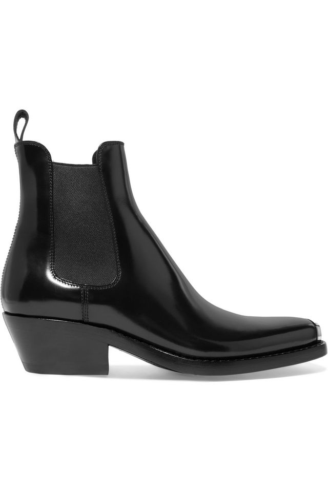 Calvin Klein 205W39NYC Claire Metal-Trimmed Glossed-Leather Ankle boots