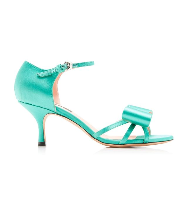 Rochas Satin Bow Mid Heel Sandals