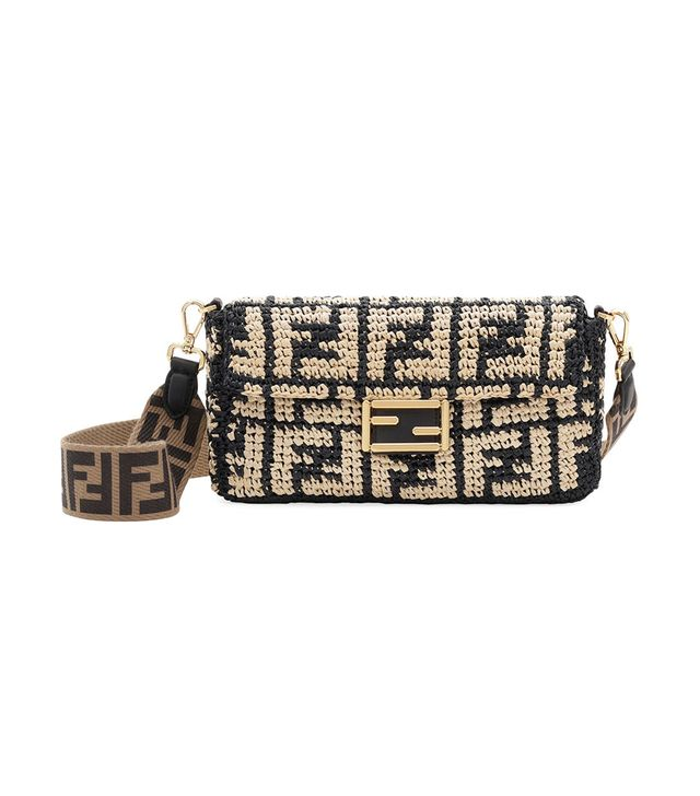 Fendi Baguette FF Raffia Shoulder Bag