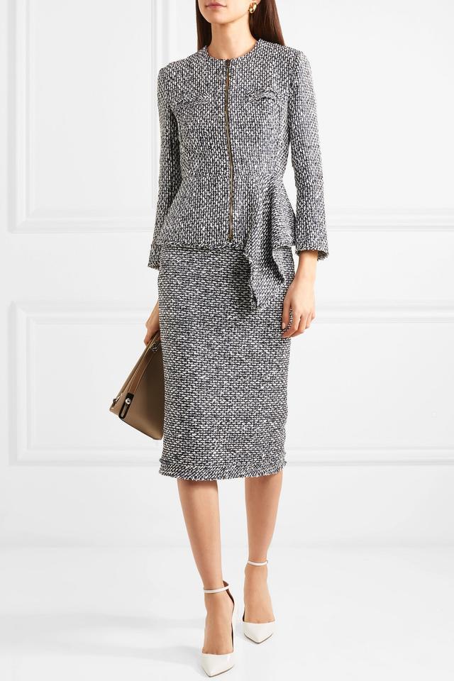 Roland Mouret Norley Bouclé Midi Skirt