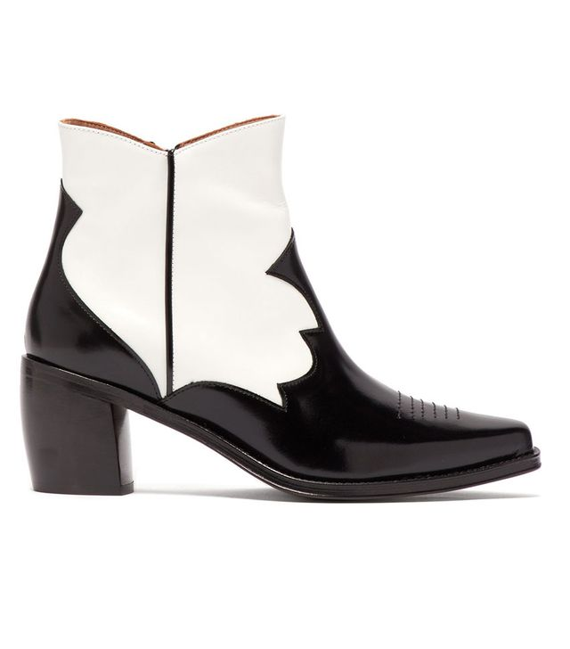 AlexaChung Western Style Leather Ankle Boots in Black and White