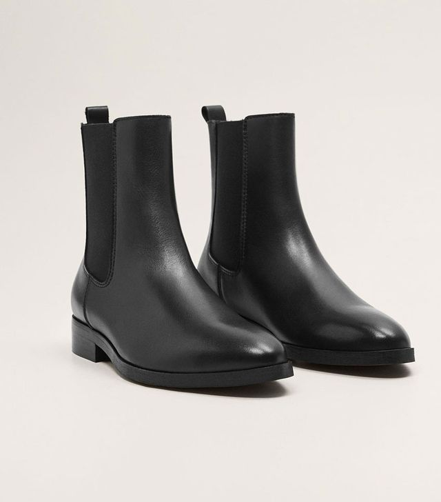 Mango Leather Chelsea Ankle Boots