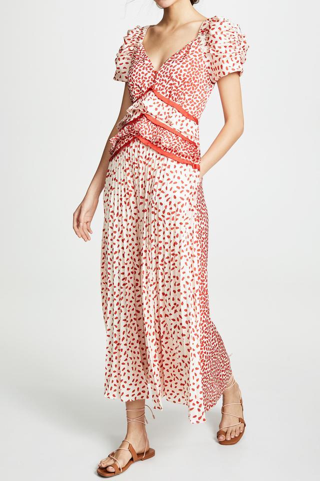 Self-Portrait Dot Satin Printed Dress