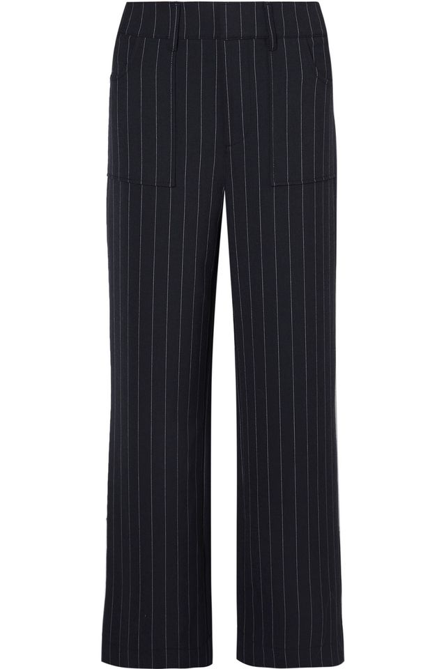 Ganni Hewitt Pinstriped Cady Straight-Leg Pants