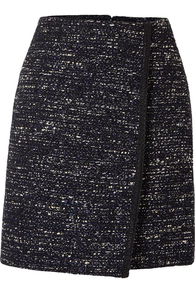 Adam Lippes Tweed Wrap-Effect Mini Skirt