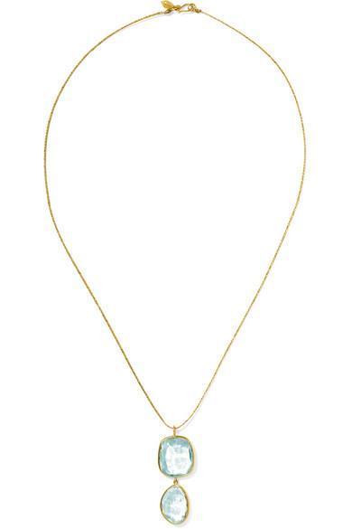 Pippa Small 18-Karat Gold Aquamarine Necklace