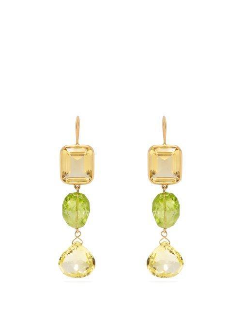 Brigid Blanco 18kt Gold, Citrine & Peridot Earrings