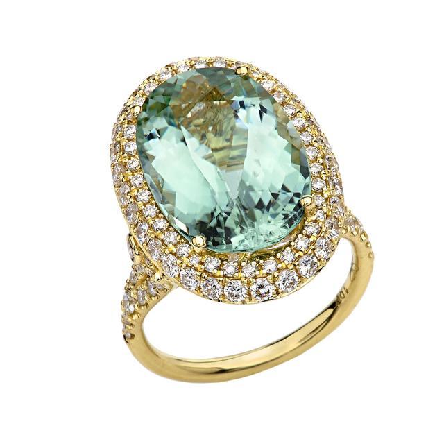 Jordan Alexander 18K Gold, Diamond, and Green Aquamarine Ring