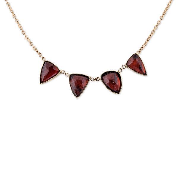 Jacquie Aiche 4 Garnet Triangle Necklace