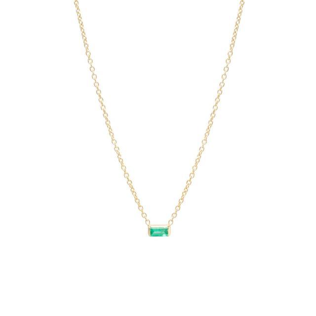 Zoe Chicco 14K Emerald Baguette Necklace