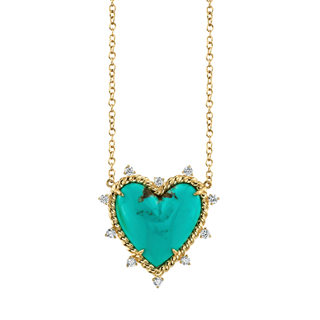 The Last Line Diamond and Turquoise Heart Twist Necklace