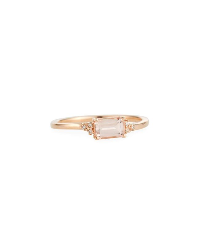 Kalan by Suzanne Kalan 14K Emerald-Cut Morganite Ring With Diamonds