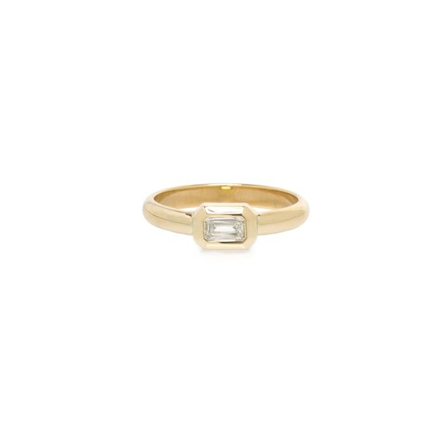 Zoe Chicco 14K Bezel Set Emerald Cut Diamond Ring