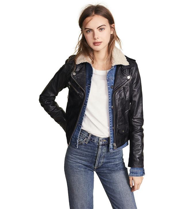 Doma Sherpa Denim Leather Jacket