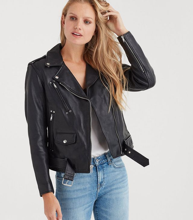 7 for All Mankind Basic Leather Biker Jacket