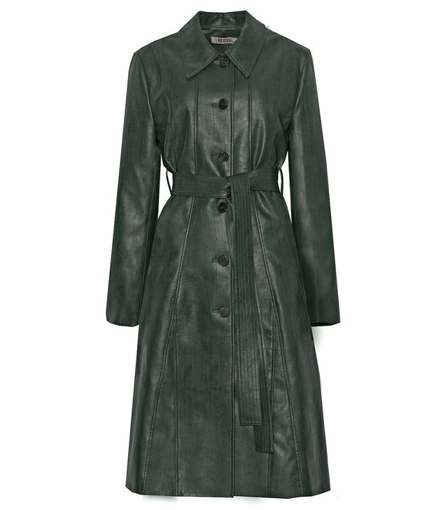 Pixie Market Hunter Green Leather Trench Coat