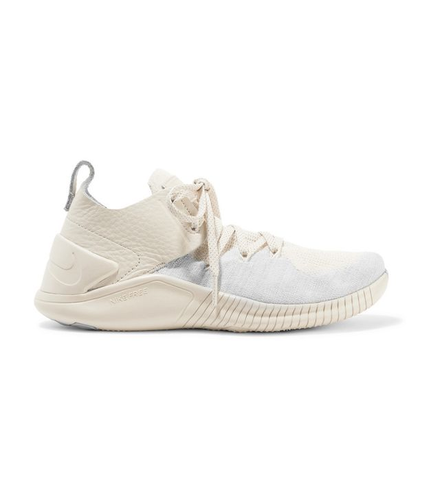 Nike Nike Free TR 3 Champagne Crinkled Leather-Trimmed Flyknit Sneakers
