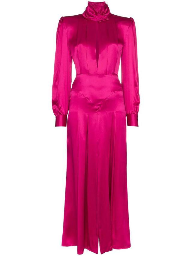 Alessandra Rich Pleated Silk-Satin Midi Dress