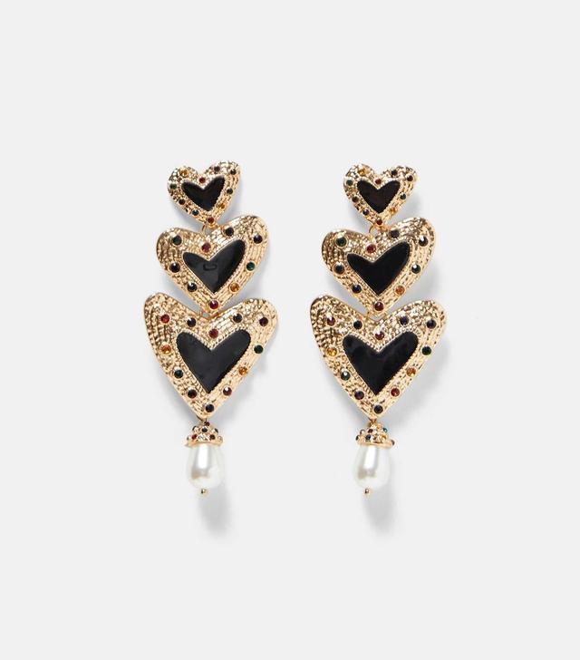 Zara Heart-Shaped Pendant Earrings