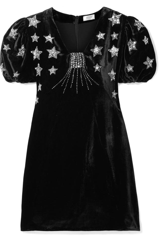 Rixo London Bambi Sequin-Embellished Velvet Mini Dress