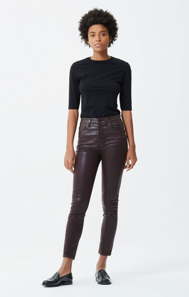 Citizen of Humanity Olivia High Rise Slim Ankle Pants in Raisin Leatherette