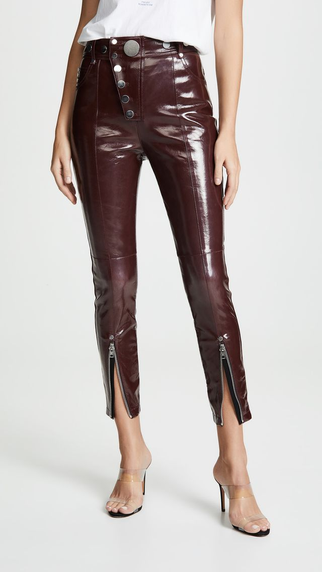 Alexander Wang High Waist Leggings With Snap Detail in Oxblood