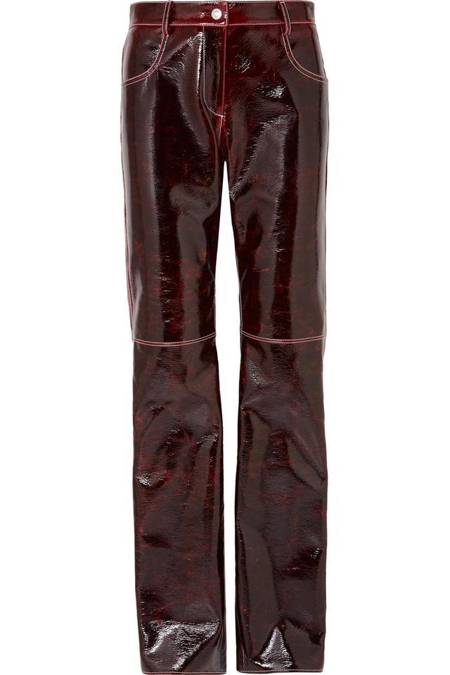 MSGM Coated Wool-Blend Straight-Leg Pants