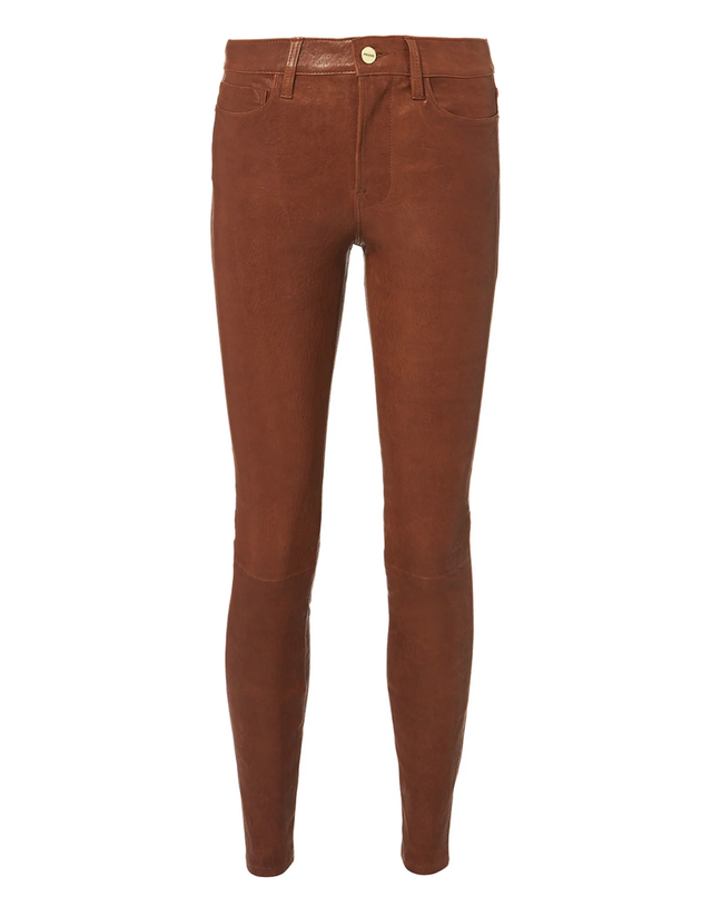 Frame Cognac Skinny Leather Pants