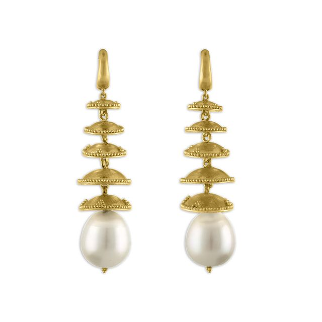 Prounis Granulated Pagoda Drop Earrings
