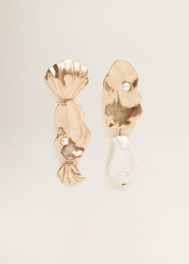 Mango Pearl Detail Asymmetric Earrings