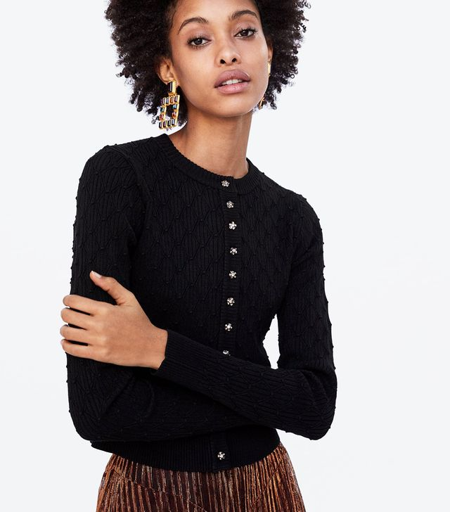 Zara Textured Weave Cardigan with Jewel Buttons