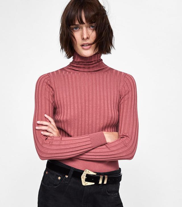 Zara Ribbed Knit Turtleneck Sweater