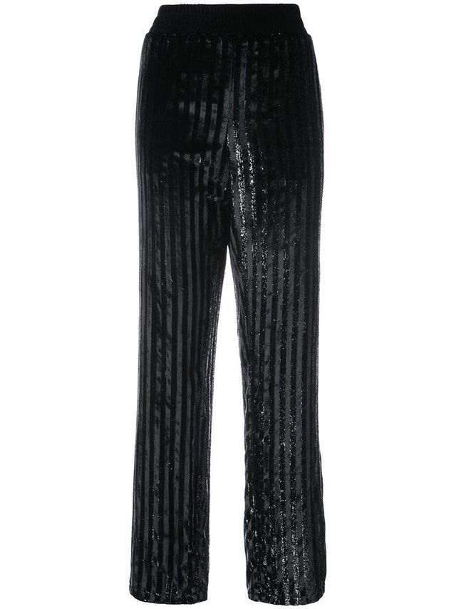 RtA Denim Striped Sequined Trousers