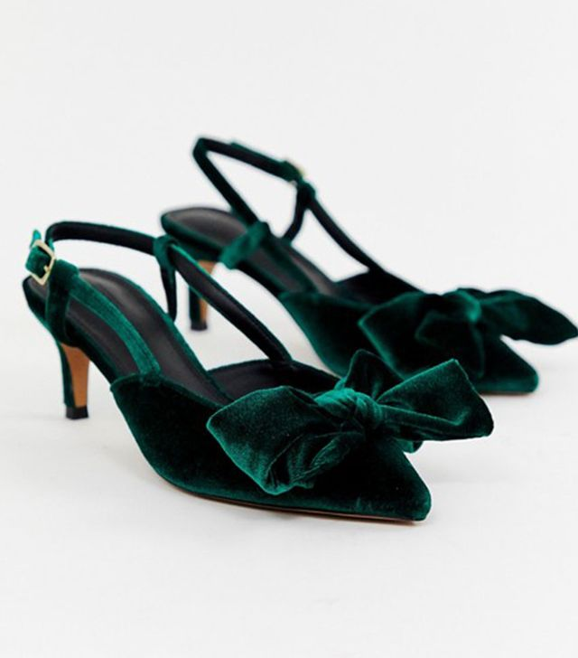 ASOS DESIGN Sherry Bow Kitten Heels