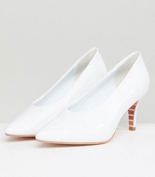 Dune Ari White Leather Vampy Kitten Heeled Shoes