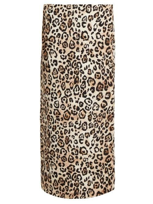 Raey Leopard Print Silk Pencil Skirt