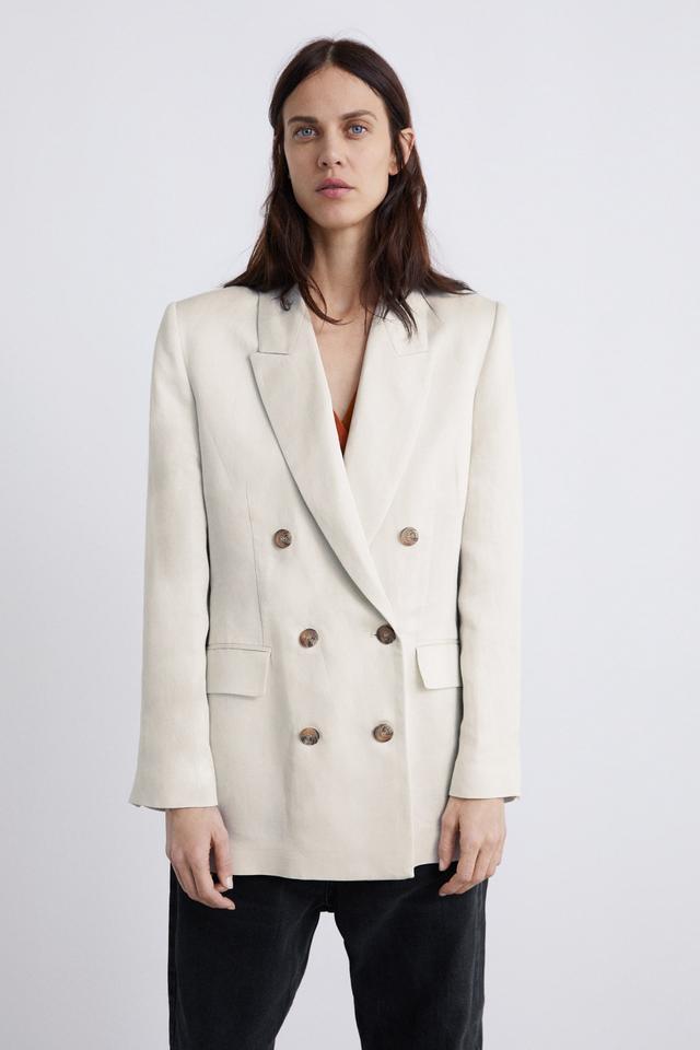 Zara Satin-Look Linen Blazer
