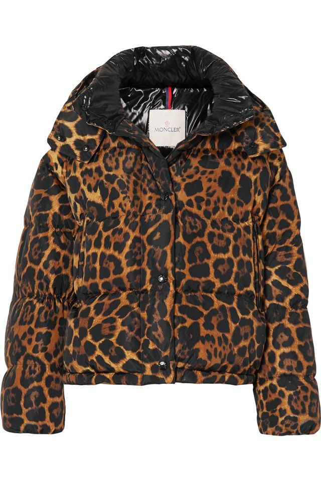 Moncler Leopard-Print Quilted Shell Down Jacket