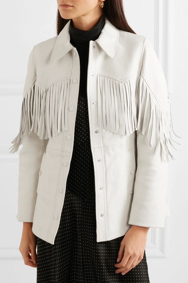 Ganni Angela Fringed Textured-Leather Jacket